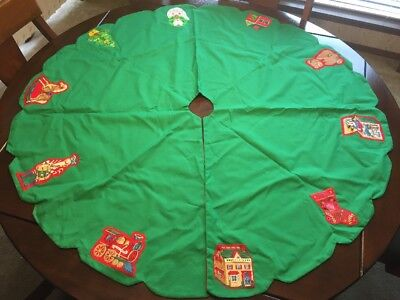 "Vintage Mid Century Appliqué Reversible Christmas Tree Skirt 48"""