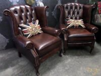 Stunning Chesterfield Pair of Queen Anne Wing Back Chairs Brown Leather - UK Delivery