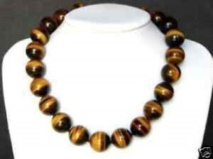 Beautiful Natural 10MM Tiger's-eye Gems Round Beads Necklace 18