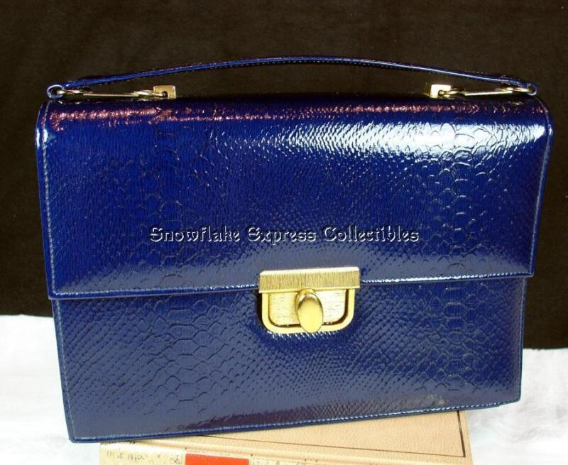 True Vintage 70's Life Stride Navy Embossed Simulated Leather Satchel Handbag