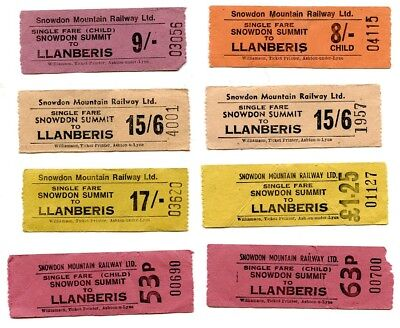 SNOWDON MOUNTAIN RLY: 8 X PAPER TICKETS, FROM SUMMIT, DECIMAL & £sd, FAULTS.