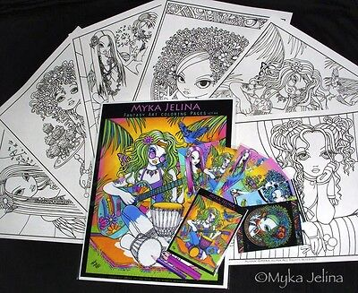 - Fairy Art Adult Coloring Fantasy Rainbow Hippie Myka Jelina Trading Card Set 4