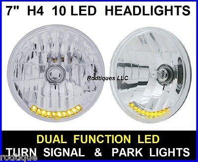 "7"" H4 10 LED Turn Signal & Running Light Headlights Head Lamps Upgrade - 5"