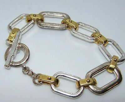 """Ralph Lauren Two Tone Gold & Silver Chain Link Toggle Bracelet 7.5"""" -STATEMENT"""
