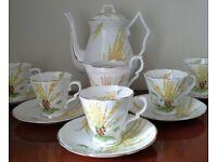 Art Deco Painted Vintage China Coffee / Espresso Set - Wedding / Tea Party / Christmas / Home Decor