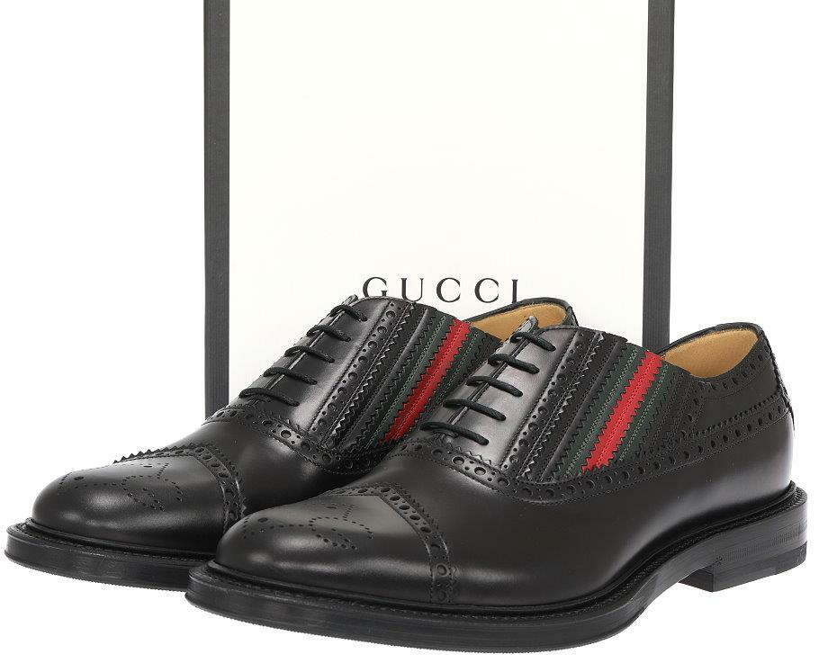 NEW GUCCI MEN'S BLACK WINGTIP WEB BEE SOLE OXFORD DRESS CASUAL SHOES 11/US 11.5 1