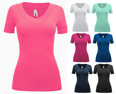 Womens Cotton Fitted T-Shirt Solid Colors V-Neck Button Short Sleeve Tee Stretch