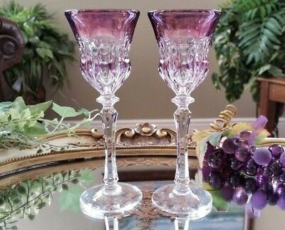 Beautiful SET OF (2) Purple Cut to Clear Crystal Glass Liqueur Cordial -