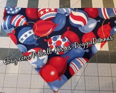DOG BANDANA Over Collar XS-L PATRIOTIC BALLOONS Vintage RED WHITE BLUE 4TH July - Red Bandana Balloons