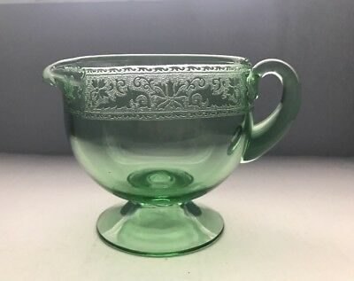 Vintage Green Glass Embossed Bow & Draped Ribbon Depression Glass CREAMER