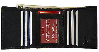 Men's Trifold Genuine Leather RFID Signal Blocking Scan Proof Wallet Black New !