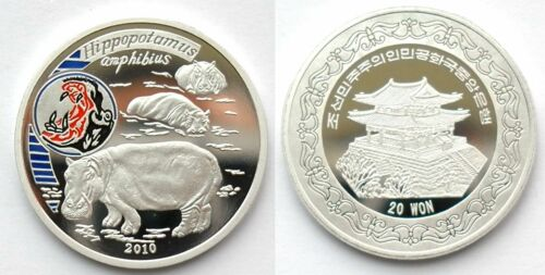 "L3134, Korea ""Hippo"" Commemorative Coin 20 Won, 2010"