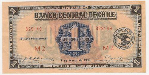 1933 CHILE 1 PESO DECIMO DE CONDOR CONVERTIBLE  ~ PRICED RIGHT! INV# 149