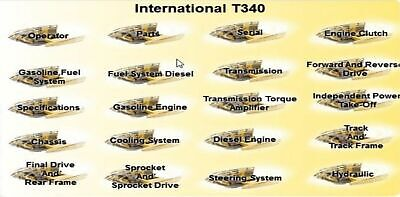 International T-340 Dozer Complete Manual Set On Searchable Cd Parts Service