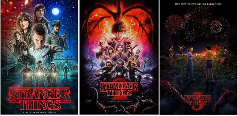 STRANGER THINGS - 3 POSTERS COLLECTOR SET (Season 1, 2, and 3) Size each 24x36