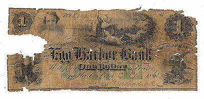 1861 The Egg Harbor Bank  Nj   One Dollar Obsolete Note No 8717