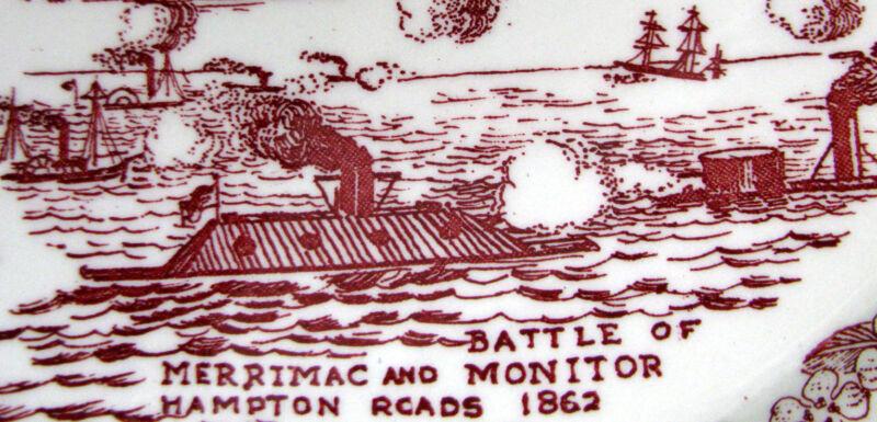 NORFOLK TIDEWATER (Artist: Joyner) vintage Vernon Kilns maroon collector's plate