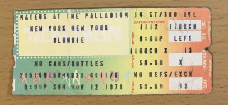 1978 BLONDIE PALLADIUM NEW YORK CONCERT TICKET STUB DEBBIE HARRY HEART OF GLASS