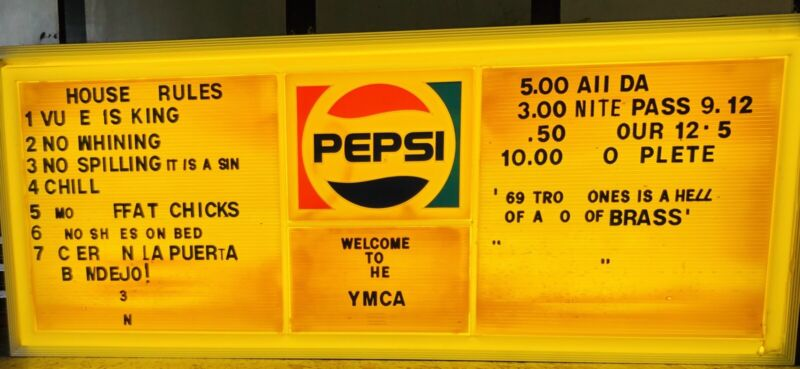 Vintage Pepsi Lighted Sign Menu Board With Letters