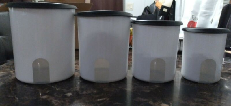 One Touch Reminder Canisters  Tupperware  set -  4.  Lid black..