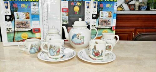 """Vintage Tea set """"Peter Rabbit"""" from Wedgewood 8 pieces, great collectible."""