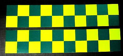Self Adhesive Reflective Battenberg Side Reflectors 1200mm Decals Green/Yellow