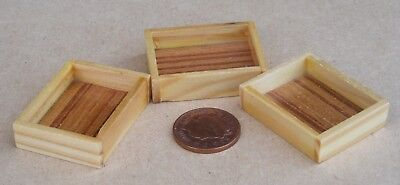 1:12 scale Single Large Size Wooden Tray Box Crate Dolls House Food Accessory H