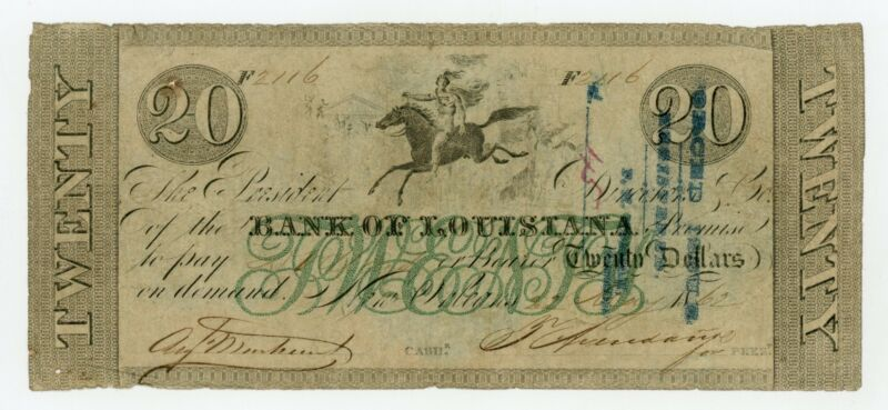 1862 $20 The Bank of Louisiana - New Orleans, LOUISIANA Note (Forced Issue!)
