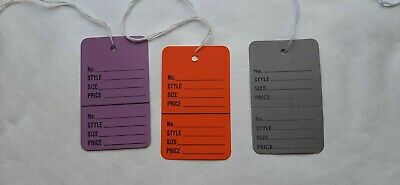 225 Large Coupon Price Tags With String -43 Colors - 75 Tags Of Each Color