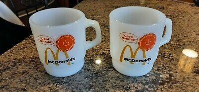 Vintage Pair McDonald's Fire King GOOD MORNING Advertising Coffee Mugs