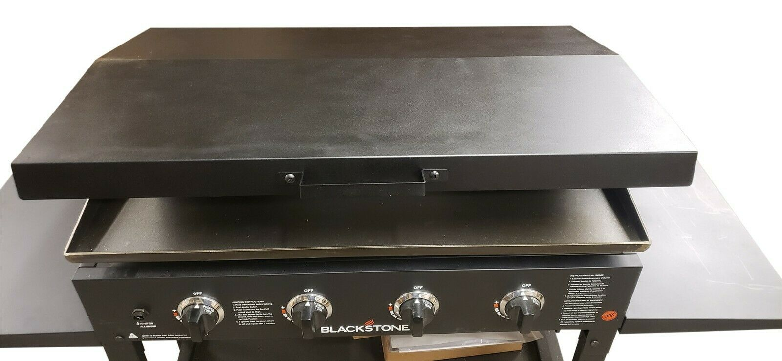 Hinged Cover for 36 inch Blackstone Griddle with Rear Grease Collection - Black