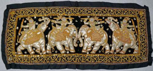Vintage Kalaga Silk Threaded Thai 4 Elephant & Riders Jeweled  Sequined Tapestry