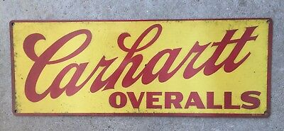 Carhartt Overalls Denim Blue Jeans Workwear Vintage Advertising Steel Sign