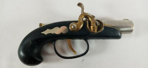 Vintage Black and Gold BRASS FLINTLOCK PISTOL LIGHTER Revolver Pirate Japan