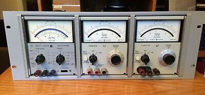 Hewlett Packard Hp 427a And Two 403b Voltmeters In Rack Vintage Test Equipment