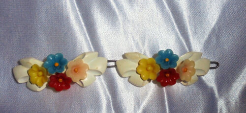 "VINTAGE PLASTIC BARRETTE ""COLORFUL FLOWERS"" PAIR 1950"