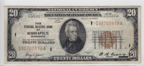 1929 Federal Reserve Bank of Minneapolis, MN $20 Note FR#1870-I I00702870A