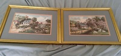 (Crown Fine Arts Painting Print Set of 2 Framed Landscape House Scenery)
