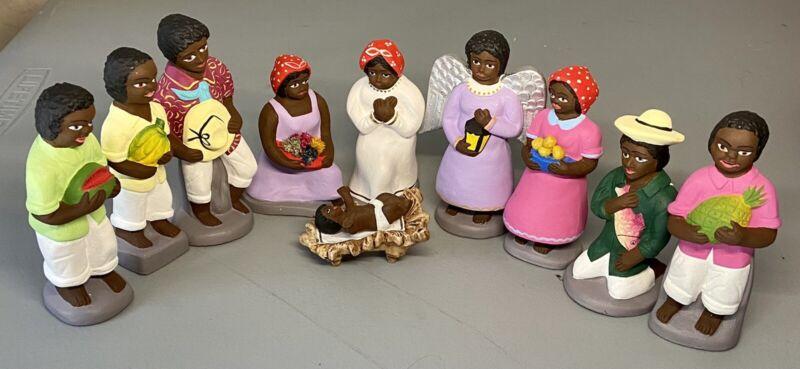Set-10 African-American Black Americana Ceramic Figurines Nativity Hand Painted