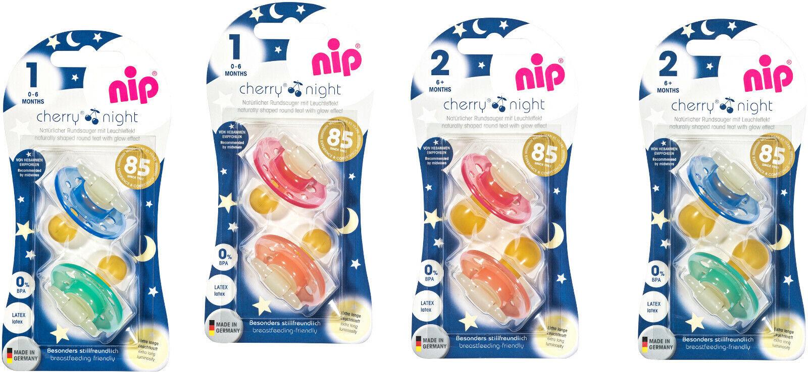 4er Nip Cherry Night Schnuller 0-6/ab 6 Monate Latex Nachleuchtend