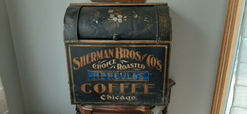 Antique Large Store Display Roasted Coffee Tin Bin Grocery Chicago