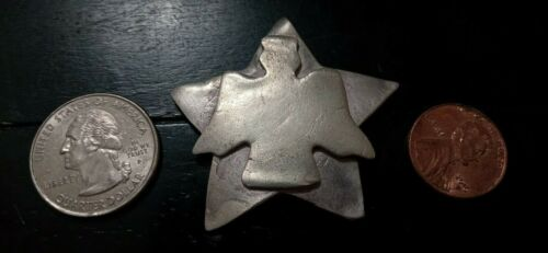 Handcrafted Pure Silver LARGE pendant OF a STAR - BIRD. From estate sale.NO HOLE