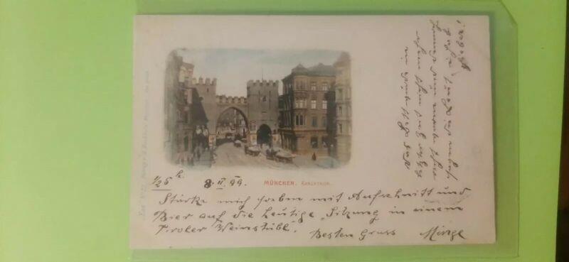 old postcard,munchen Karlsthor 1899 year