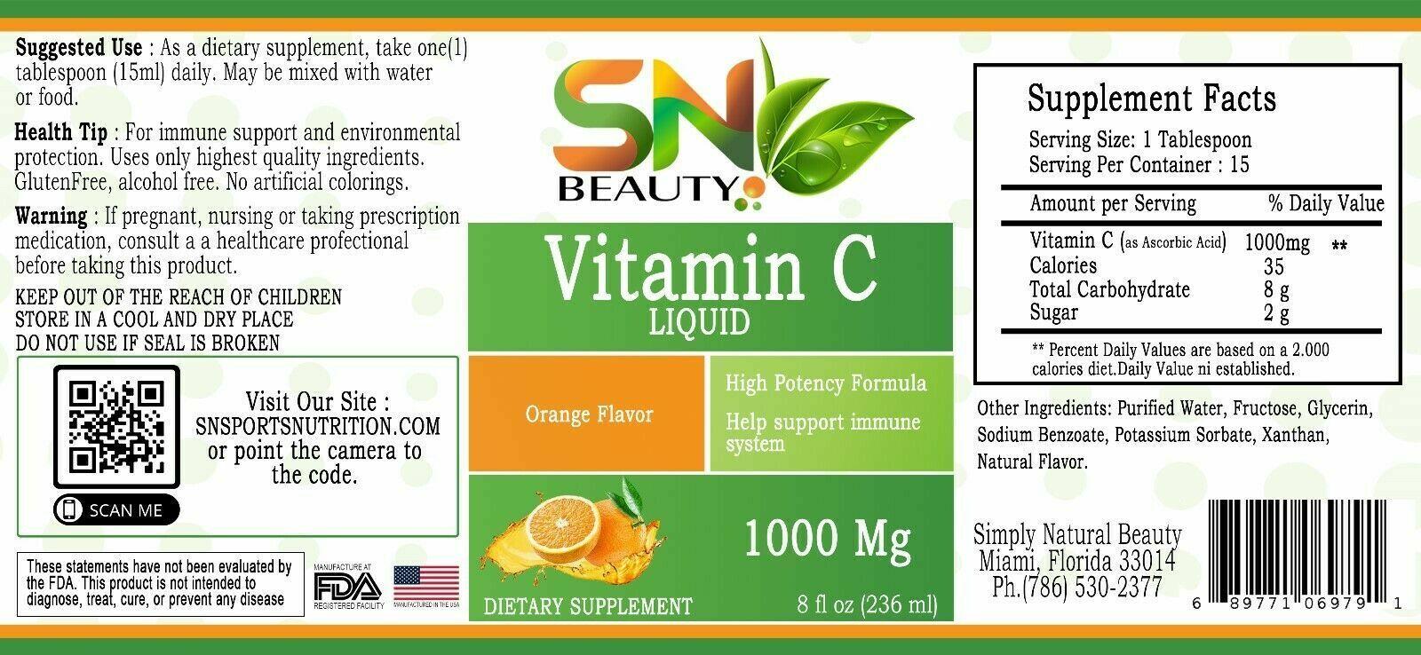 Pure Vitamin C 1000 mg support immune System very high quality liquid vitamina C 2