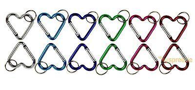 Heart Shaped Key (Carabiner Key Chain Heart Shaped Key Ring Belt Clip Snap Aluminum (Lot of 12)  )