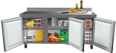 3 Door Worktop Refrigerator Stainless Steel Commercial Cooler 72 - 17 Cu.