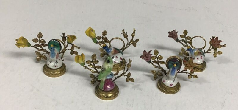 Set Of Five Porcelain And Metal Bird Placeholders