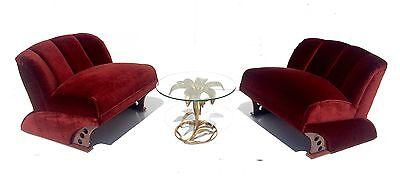 Pair 1930s Art Deco Club Chairs  Pre Mid Century Modern Hollywood Glam Regency