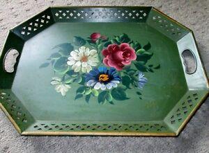 Vintage Green Metal Handpainted Tole Tray - Florals Kitchener / Waterloo Kitchener Area image 1