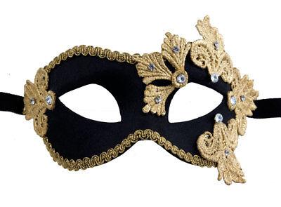 Mask Venice Colombine macrame black rhinestone golden satin Paper mache 2122